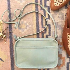 Vintage Coach Small Teal Blue Leather Shoulder Bag